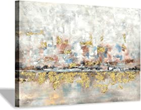 Modern Abstract Colorful Canvas Wall Art: Rustic Hand Painted Texturing with Gold Foils Embellishment Painting Wall Pictur...