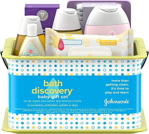 Johnson's Bath Discovery Gift Set for Parents-to-Be, Caddy with Baby Bath Time & Skin Care Essentials, Includes Baby ...
