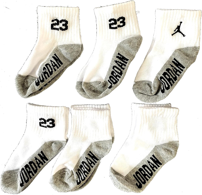 JORDAN Kids Ankle Socks Cushioned 6 Pairs White Assorted 2-4 Years