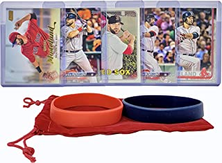Mitch Moreland Baseball Cards (5) ASSORTED Boston Red Sox Trading Card and Wristbands Gift Bundle