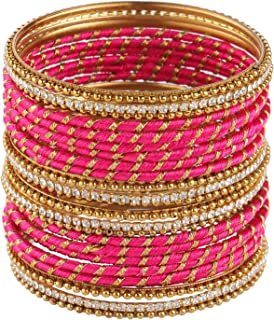 Fashion Jewelry Indian Bollywood Gold Plated Crystal Stone Beaded Red Silk Thread Bracelet Bangle Set (24 pc)