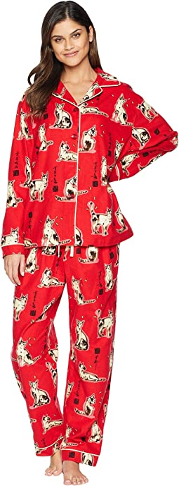 Haiku Kitty Flannel Pajama Set