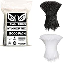 Nylon Zip Ties (BULK PACK OF 5000) 4 Inch Cable Ties in Black and White - 25lb Strength Tie Wraps - Perfect for Tying Cabl...