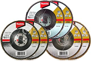 Makita 6 Piece - Multi Grit Flap Disc Set For Grinders - 3-In-1 Conditioning For Metal, Stainless Steel & Non-Ferrous - 4-1/2 x 7/8-Inch | Z40, Z80 & Z120 Angled