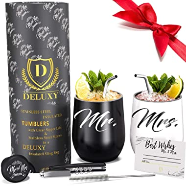 DELUXY Mr and Mrs Wine Tumblers | Best Engagement Gifts For Couples, Bridal Shower Gifts For Bride, Wedding Gifts For Couples| Couple Drink Cups Perfect For Hot, Cold Coffee, Tea, Wine, Cocktails