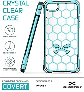 Ghostek iPhone 7 Case, Covert Series for Apple iPhone 8 Premium Hybrid Impact Protective Armor Case Cover   Clear TPU   Explosion-Proof Screen Protector   Ultra Fit   Bumper Spring Corners (Teal)