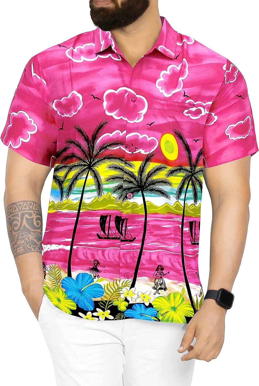 LA LEELA Men's Big and Year-end gift Tall Price reduction Short Sleeve Shirt Fashion Hawaiian