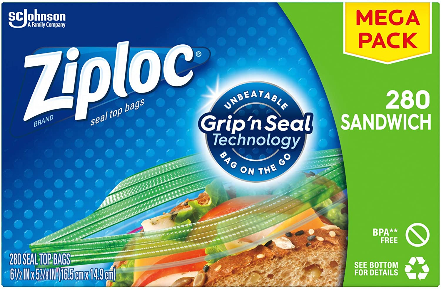 Ziploc Sandwich Bags with New Grip Seal Technology 'n Count 280 Rapid A surprise price is realized rise