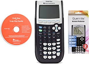 Texas Instruments TI 84 Plus Graphing Calculator With Guerrilla Military Grade Screen Protector Set (Renewed)