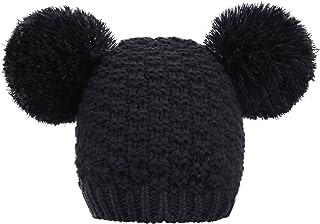 Livingston Women's Winter Chunky Knit Beanie Hat w/Double Pompom Ears