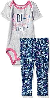 Lamaze Baby Girls Organic 2 Piece Shortsleeve Bodysuit and Pant Set