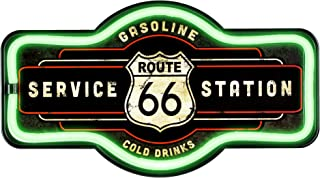 Officially Licensed Route 66 Service Station LED Sign, New Improved Now with 6' Wall Plug Cord! LED Light Rope That Looks Like Neon, Wall Decor for Bar, Garage, or Man Cave