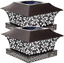 Siedinlar Solar Post Lights Outdoor Deck Fence Cap Light Solar Powered Metal White LED Lighting Waterproof for Patio Garde...