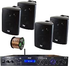 Pyle PDA7BU Amplifier Receiver Stereo, Bluetooth, FM Radio, USB Flash Reader, Aux Input LCD Display, 200 Watt, with 4X Dual 100 Watt 3 Way Indoor Outdoor Studio White Speakers, Enrock 50 FT Wire