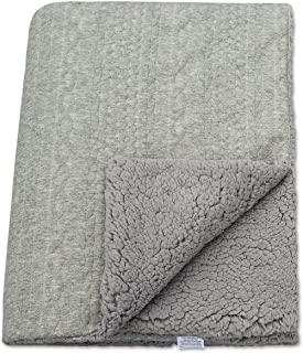 BlueSnail Premium Knitted Toddler Throw Blanket with Double Soft Plush Shepra Fleece Layer for Boys and Girls (Light Gray+Light Gray, 40' *60')