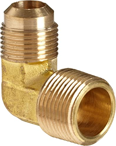 """Anderson Metals - 54049-0606 Brass Tube Fitting, 90 Degree Elbow, 3/8"""" Flare x 3/8"""" Male Pipe"""