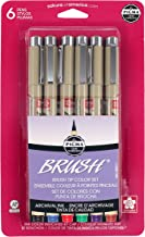 Sakura 6-Piece Pigma Assorted Colors Brush Pen Set, Assorted, SET