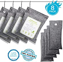 Oududianzi Air Purifying Bags(8 Pack - 4x200g+4x50g) with 4 Free Hooks, Bamboo Charcoal Bag Activated Charcoal Odor Absorber, Charcoal Air Purifiers for Car,Closet,Shoes,Pet Areas,Basement and More