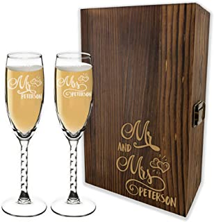 Bride And Groom Champagne Glasses Set With Wooden Gift Box - 6 Premium Custom Designs - Personalized Mr And Mrs Champagne ...