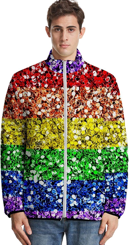 URVIP Unisex 3D Printed LGBT Rainbow Bisexual Pride Color Style Down Jacket