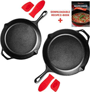 Uno Casa Cast Iron Skillet Set - 2-Piece Set 10 in and 12 in - Pre-Seasoned Cast Iron Frying Pan - Oven Safe