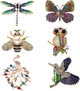 Forise 6 Pieces Women Brooch Set Crystal Rhinestone Vintage Brooches Pin with Dragonfly Butterfly Hummingbird Owl Peacock Bee Design Colorful Animal Shape Brooch for Women Girls