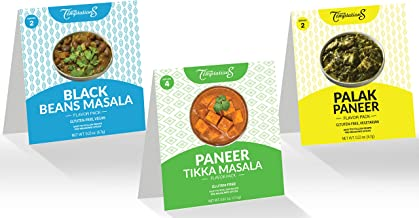 Vegan Gourmet Indian Curry Variety Pack Spice Sets to cook Palak Paneer, Black Beans Masala, Paneer Tikka Masala from Scratch - 6 pack, Gluten-Free, Salt-Free, Exactly Measured Organic Ethnic Spices