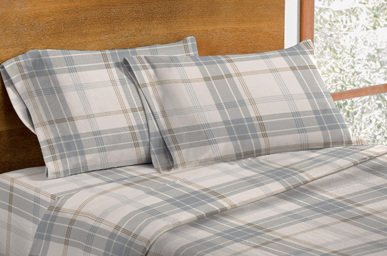 Amazon Com Dormisette Luxury German Flannel Sheets Pillowcases Set 4 Piece Full White Grey Plaid Home Kitchen