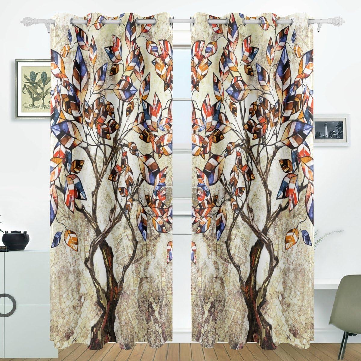 ランキング総合1位 ストア JSTEL Thermal Insulated Curtain Tree Dark Blackout Room Curtains