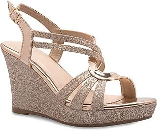 OLIVIA K Women's Sexy Strappy Platform Wedge Glitter Sandals