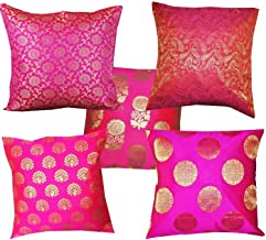 VIREO Silk Cushion Cover with Zipper (12X12-inch, Pink) - Set of 5