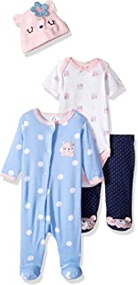 Gerber Baby Girls' 4-Piece Sleep 'N Play, Onesies, Pant and Cap