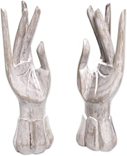 NOVICA Artisan Crafted Natural Jempinis Wood Jewelry and Ring Holder, White, 'Fairy Hands' (Pair)