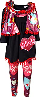 Amor Bee Girls Valentine's Day Love Hearts Outfit Set - Top Leggings Scarf 3pc Set