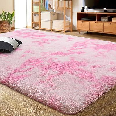 LOCHAS ラグジュアリーベルベットシャグエリアラグ モダンインドアふわふわラグ とても快適で柔らかいカーペット 抽象的なアクセントラグ ベッドルーム リビングルーム 寮 ホーム ガールズ キッズ 6x9フィート ピンク