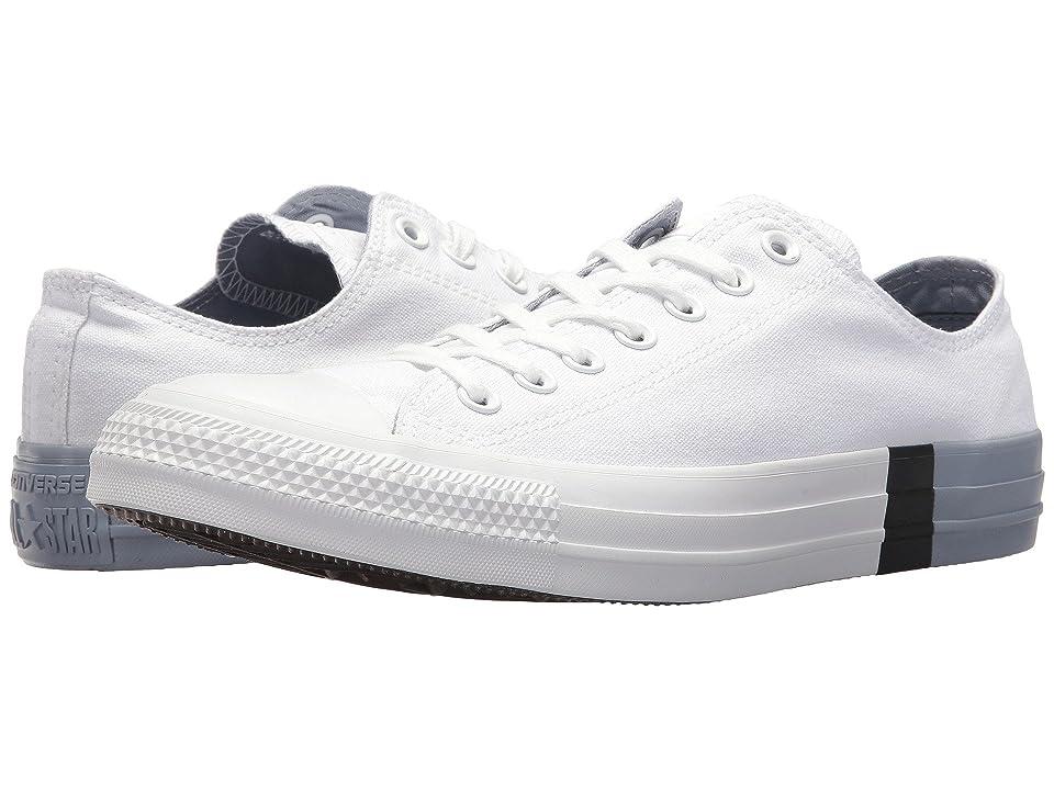 Converse Chuck Taylor(r) All Star Tri Block Midsole Ox (White/Glacier Grey/White) Classic Shoes