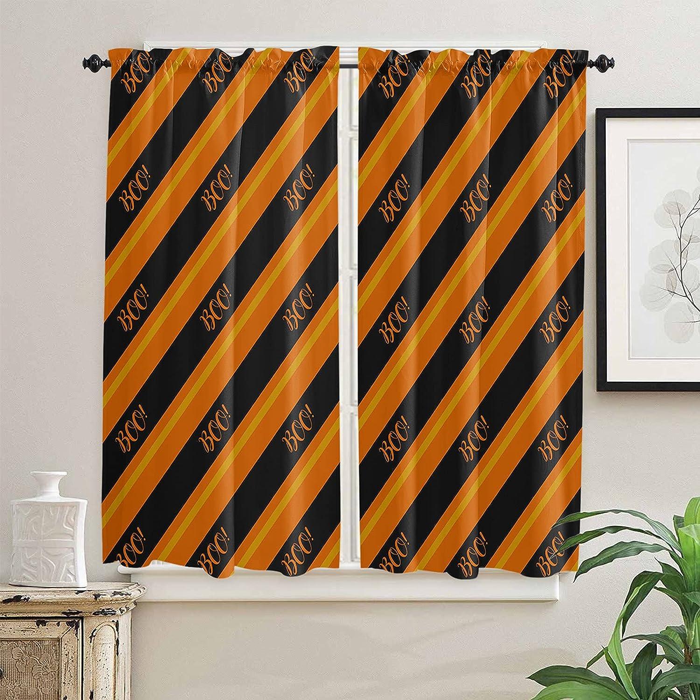 Special discount Campaign Halloween Orange Diagonal Stripes Kitchen Inch 63 Curtains Lengt