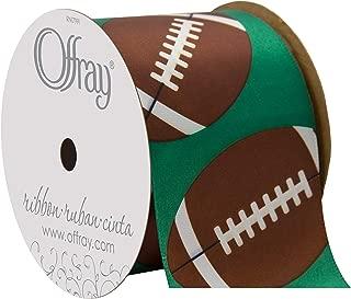 Offray Single Face Satin Sports Ball Craft Ribbon, 2 1/4-Inch x 9-Feet, Football