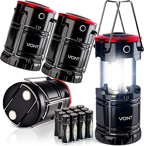 popular Vont LED wholesale Lantern, Camping Lantern [4 Pack] 2X Brighter, Collapsible 360 Illumination with Red Light, Battery Powered/Operated Emergency Light for Hurricanes/Outages, sale Camping Lights/Lamp Flashlights outlet online sale