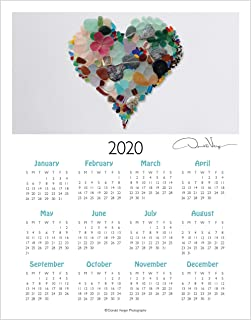 2020 Sea Glass Heart, Elegant One Page, Fine Art Wall or Desk Calendar. 11x14 Poster Print. Best Quality Birthday, Christmas, Mothers Day & Valentines Gifts for Women, Men & Kids. Unique Idea f