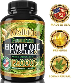 Hemp Oil Extract Capsules 12000 MG - Ashawagandha and Melatonin Supplement - Anxiety, Stress, Joint, Lower Knee, Neck Pain Relief - Sleeping and Mood Support Pills - Made in The USA, 60 Capsule Pack