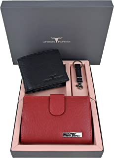 Urban Forest Skylar Black/Red Leather Wallets & Keyring Combo Gift Set for Men &Women