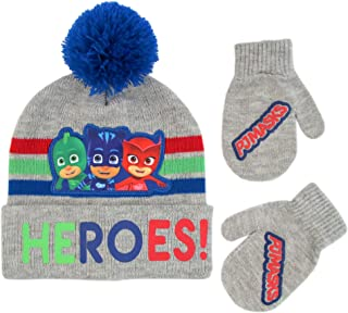 Toddler Boy's Assorted Characters Beanie Hat and Mittens Cold Weather Set, Blue/Red/Grey, Age 2-4