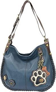 Chala Handbags, Casual Style, Soft, Large Shoulder or Crossbody Purse with Keyfob - Navy Blue