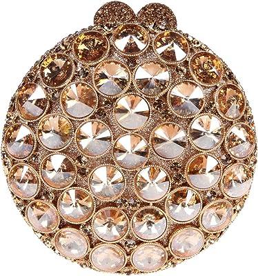 Bonjanvye Studded Round Bag for Womens with Crystal Rhinestone Clutch Handbag