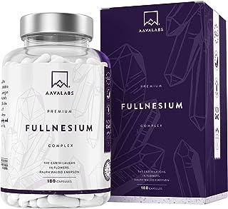 Complejo de Magnesio Fullnesium - 180 Cápsulas - 400 mg/Dosis Diaria - Óxido de Magnesio, Citrato de Magnesio, Malato de Magnesio, Taurato de Magnesio - 100% Vegano