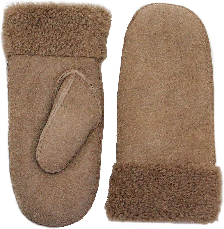 YISEVEN Women's Merino Rugged Sheepskin Winter Shearling Leather Gloves Mitten