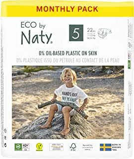 Eco by Naty Baby Diapers, Size 5, 132 Ct, Plant-based with 0% Oil Plastic on Skin, One Month Supply