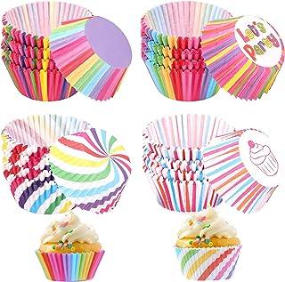 400 pièces Caissettes à Cupcakes, Caissettes à Muffins en papier arc-en-ciel Cupcake Tasses de cuisson Muffin Liners Wrapp...