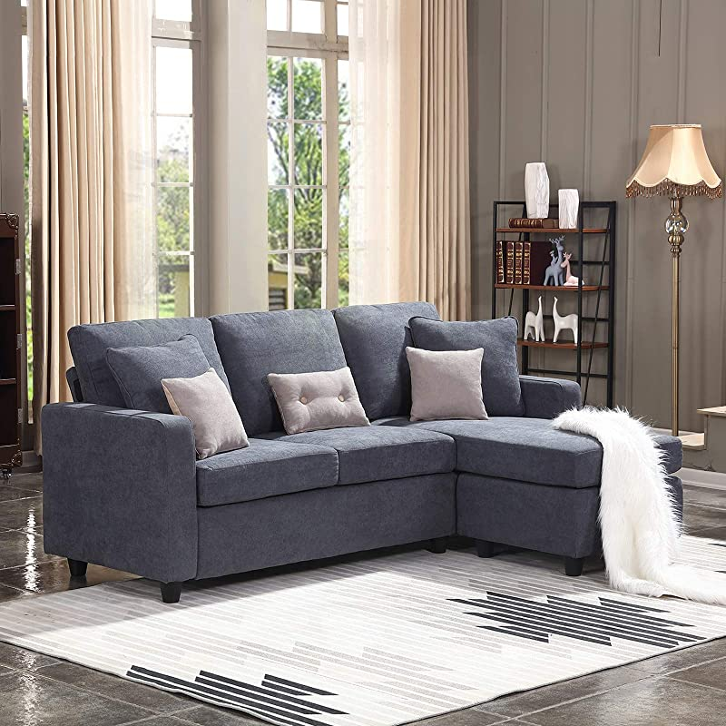 HONBAY Convertible Sectional Sofa Couch L Shaped Couch With Modern Linen Fabric For Small Space Dark Grey